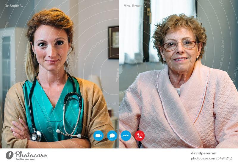 Videoanruf-Bildschirm mit älterer Frau und Ärztin Senior Krankenhaus Coronavirus Arzt medizinischer Bericht Quarantäne geduldig Großmutter Wiederherstellung
