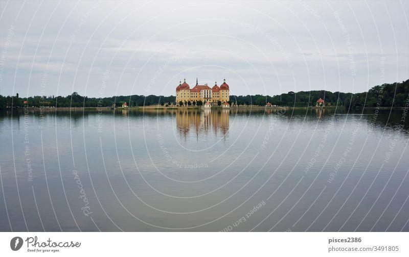 Schloss Moritzburg spiegelt sich im Schlosssee Barock Deutsch Burg oder Schloss Deutschland Sachsen Architektur Gebäude Dresden Jagdschloss Moritzburg