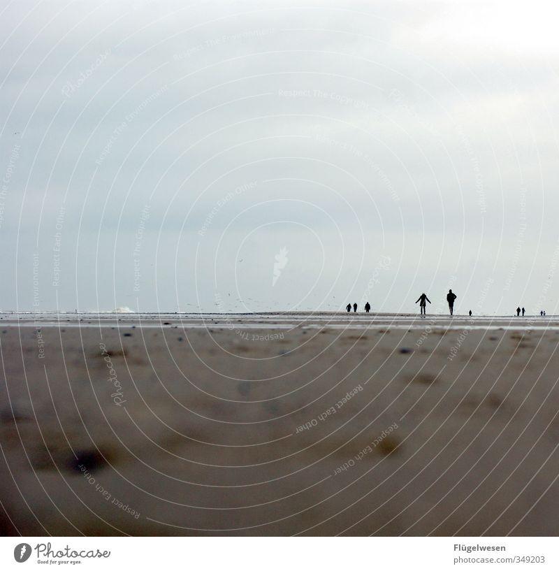 Tag am Meer Mensch Ferien & Urlaub & Reisen Strand Ferne Herbst Freiheit Küste Sand Menschengruppe Wellen Tourismus Ausflug Abenteuer Spaziergang Kindergruppe