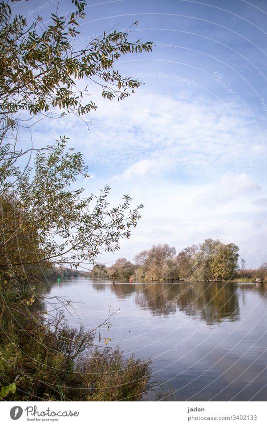 der fluss liegt still, noch ist april. weisse wölkchen ziehn vorbei, morgen ist mai. Flusslandschaft Wasser Außenaufnahme Natur Landschaft Farbfoto Menschenleer