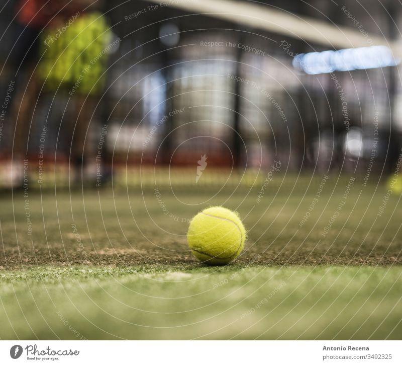 Paddle-Tennisball auf dem Platz. Defokussierter Mann im Hintergrundtraining Padel Paddeltennis Sport Klasse Training im Innenbereich Netz Ball Remmidemmi