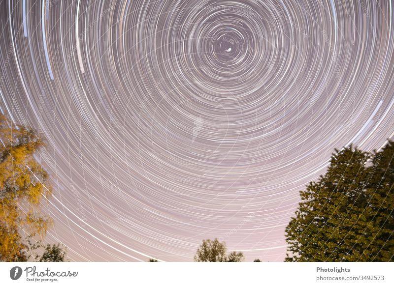 Sternspuren, Star Trails, Polarstern Startrail Star trails Himmel Farbfoto Außenaufnahme Nacht Langzeitbelichtung Nachthimmel Menschenleer Natur Weitwinkel
