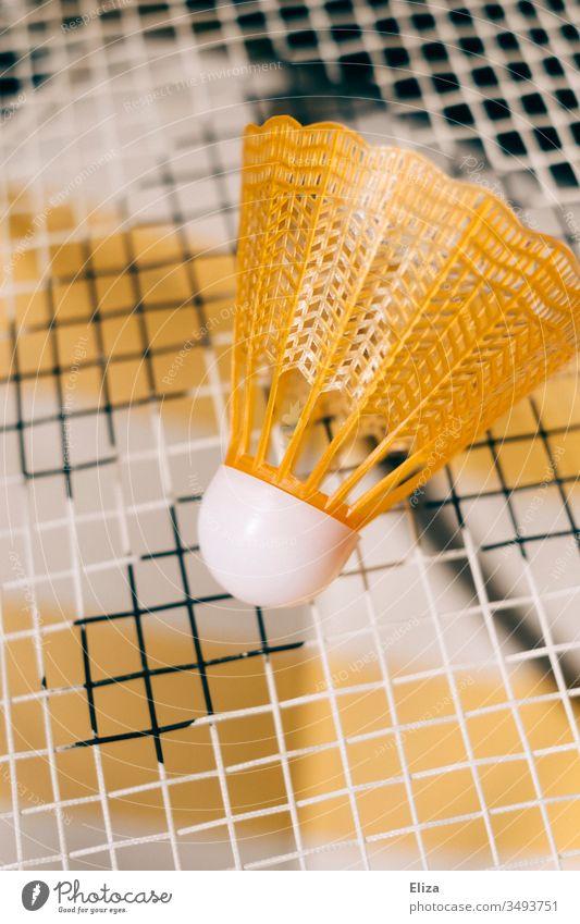Nahaufnahme eines gelben Federballs auf dem Netz eines Federballschlägers Badminton Federball spielen Spielen Sport Freizeit & Hobby Ballsport Außenaufnahme
