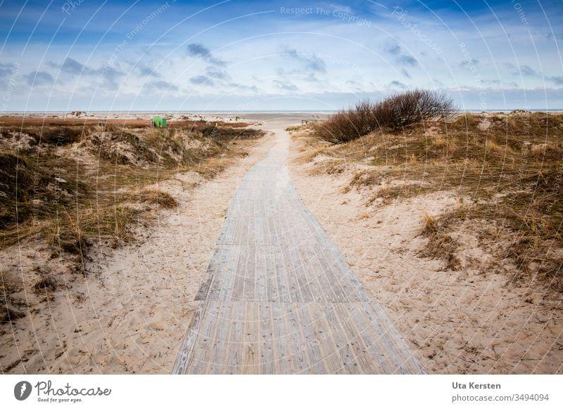 Weg zum Strand auf Borkum Wege & Pfade Stranddüne Nordsee Insel Meer Küste Ferien & Urlaub & Reisen Sand Himmel Natur Menschenleer Wolken Außenaufnahme Farbfoto