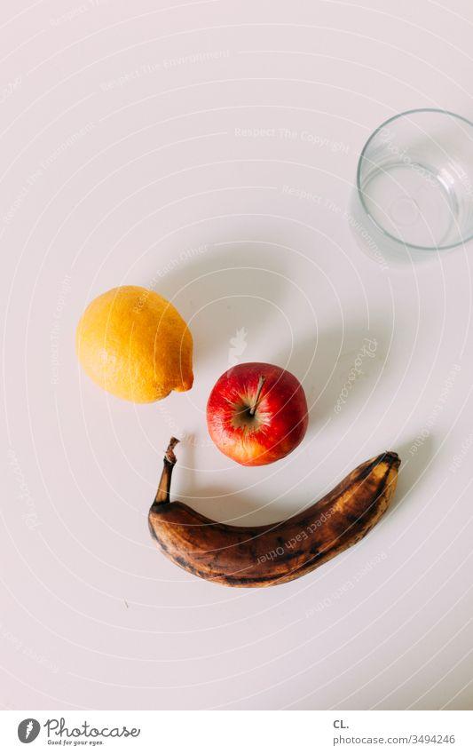 zitrone, apfel, banane, glas Obst Zitrone Apfel Banane Glas Wasser Essen trinken Getränk Lebensmittel frisch Gesundheit Vegetarische Ernährung Farbfoto