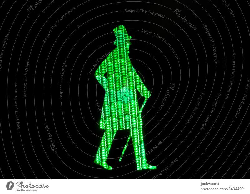 Däne auf dem Weg über die Straße grün Profil Silhouette Kunstlicht Strukturen & Formen Piktogramm Streulicht Comic Sicherheit Ampel Fußgänger Design Stil
