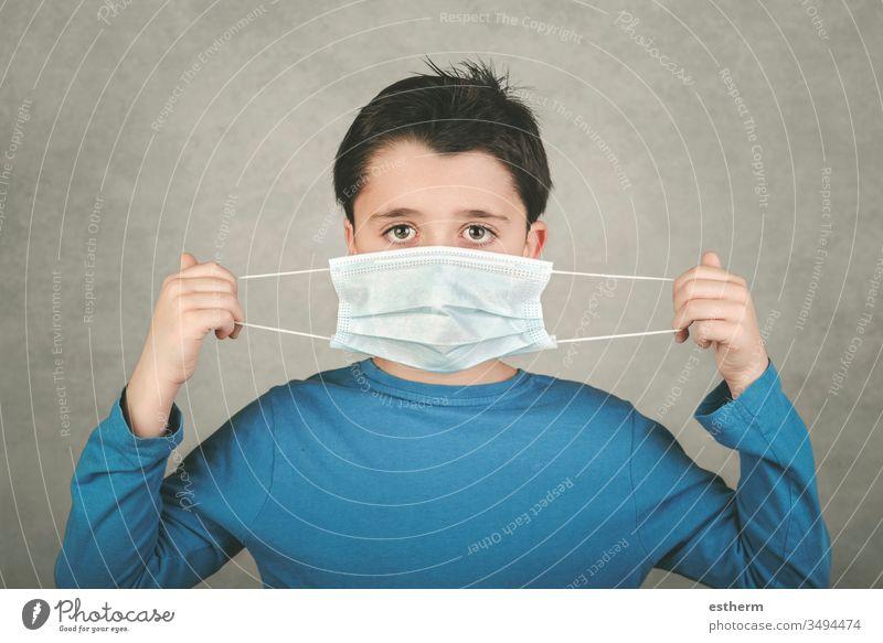 Coronavirus,Kind mit medizinischer Maske Virus Seuche Pandemie Quarantäne covid-19 Symptom Medizin Gesundheit Mundschutz Kindheit positiv Prüfung Krankenhaus