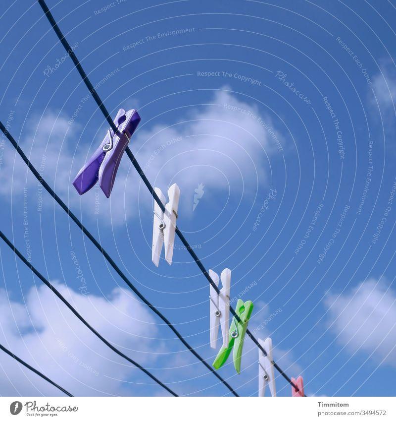 Wäscheklammern genießen das schöne Wetter Wäscheleine trocknen Kunststoff hängen Farben Himmel Wolken Menschenleer Schönes Wetter blau weiß Dänemark