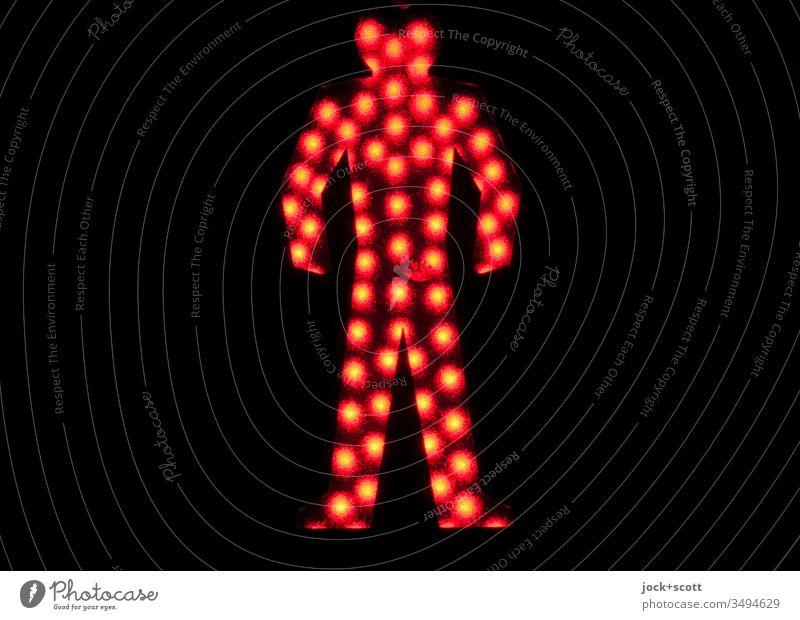 warten bei roten Signal auf chinesisch Verkehr Silhouette Low Key Piktogram Design Technik & Technologie Detailaufnahme Streulicht