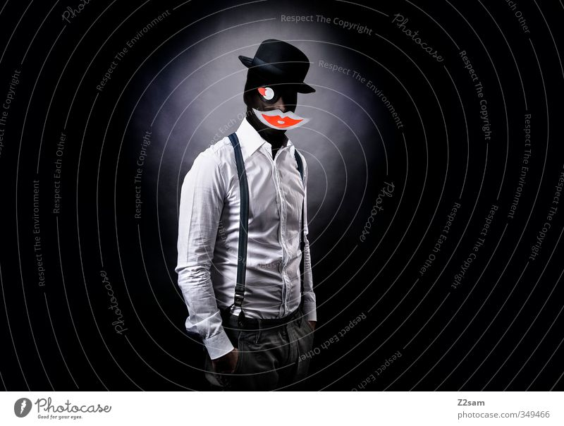 Kiss Jugendliche Erwachsene dunkel Junger Mann Stil maskulin Kraft elegant Mund Coolness Papier Lippen Hut Hemd gruselig skurril