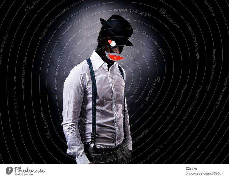 Kiss elegant Stil maskulin Junger Mann Jugendliche 30-45 Jahre Erwachsene Hemd Hosenträger Hut Coolness dunkel gruselig Kraft bizarr Identität skurril