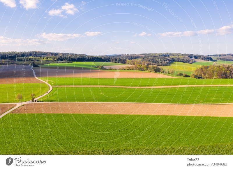 eine Agrarlandschaft im Frühling landwirtschaftlich Landwirtschaftlicher Weg Traktor Traktorpfad Feldhintergrund Wiesen-Hintergrund von oben Air Luftaufnahme