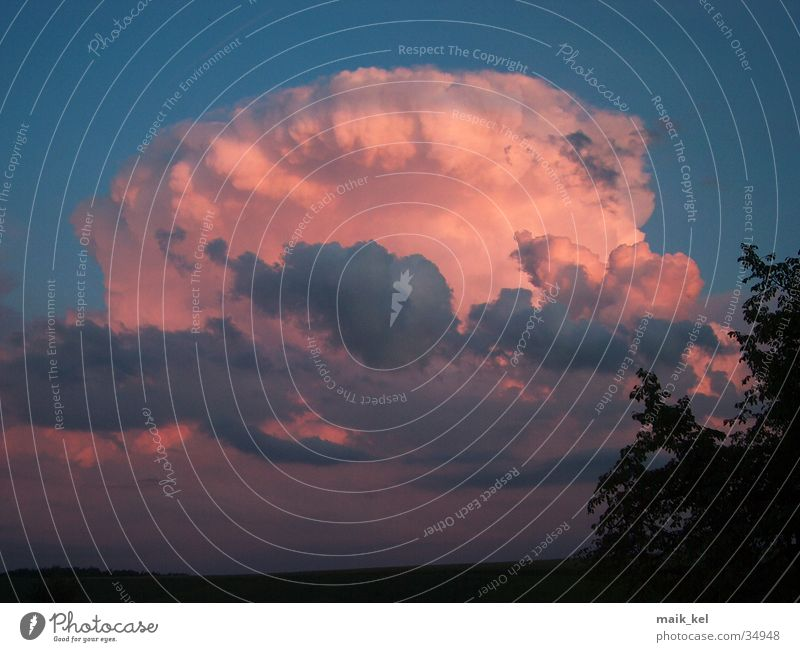 Gewitterwolke im Abendrot Wolken Unwetter Abenddämmerung Himmel Cumulunimbus Natur