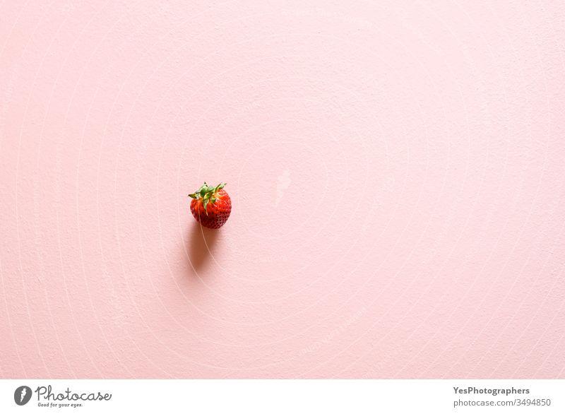 Eine einzelne Bio-Erdbeere auf einem rosa Tisch. 1 obere Ansicht Beeren Textfreiraum Entzug Diät diätetisch flache Verlegung Lebensmittel frisch frische Früchte