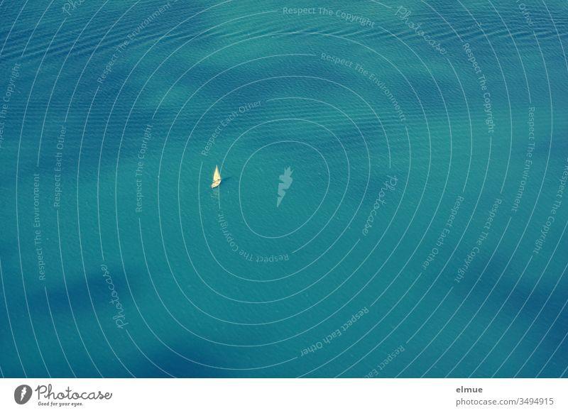 Vogelperspektive auf das blaue Meer mit einem einsamen Segelboot Wasser Freiheit alleine Weite Einsamkeit Ferien & Urlaub & Reisen Wasserfahrzeug Wellen Sommer