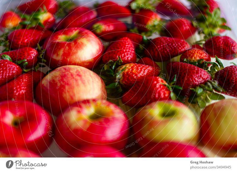 Frische Bio-Erdbeeren und Äpfel schwimmen in einer Wanne mit Wasser Diät Lebensmittel Ernährung Gesundheit Food-Fotografie frisch Veganer Vitamin Essen