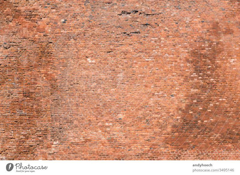 Die alte Ziegelmauer mit vielen Steinen Verlassen abstrakt gealtert Hintergrund Hintergründe blanko Baustein Backsteinwand Mauerwerk braun Gebäude Farbe