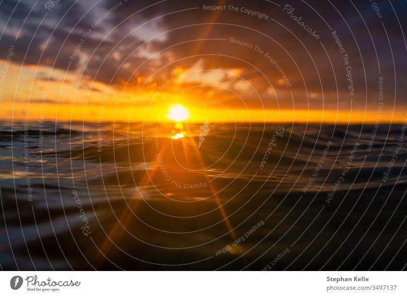 Mitten im Wasser bei einem traumhaften Sonnenuntergang mit Blick in die Sonnenstrahlen am Horizont Meer Urlaub Reise baden schwimmen Detail