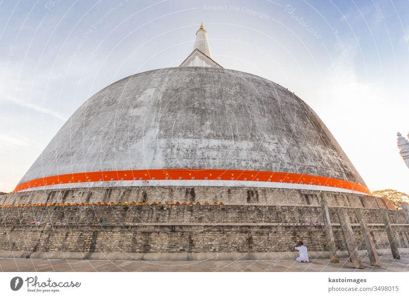 Einsame Buddhisten beten an der Stupa Ruwanwelisaya im historischen Park Anuradhapura in Sri Lanka. anuradhapura Anbetung weiß reisen traditionell Tempel Himmel