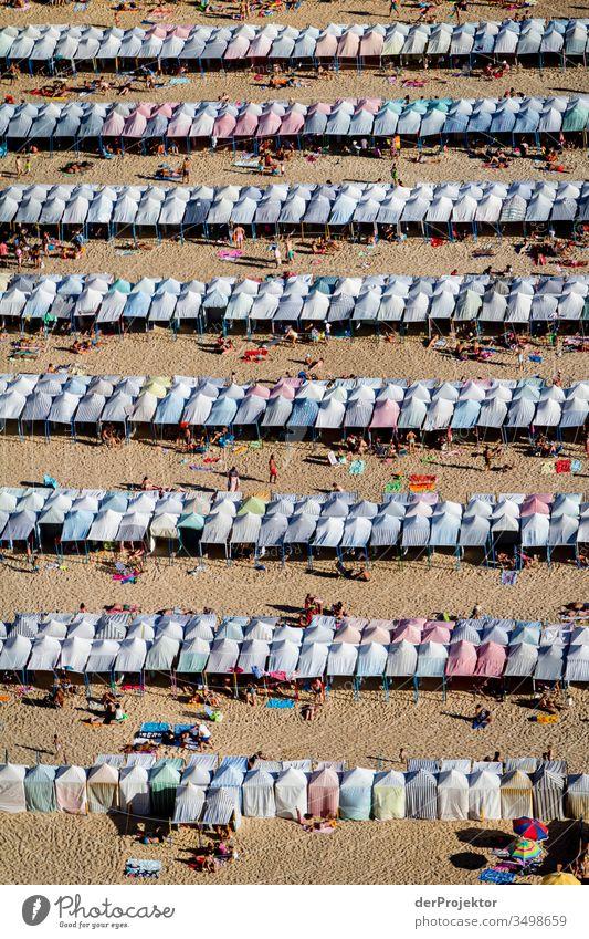 Klare Linien, aber zu wenig Abstand am Strand von Nazaré Meeresstrand Landschaft Menschenmenge Ferien & Urlaub & Reisen Willensstärke Luftaufnahme Abenteuer