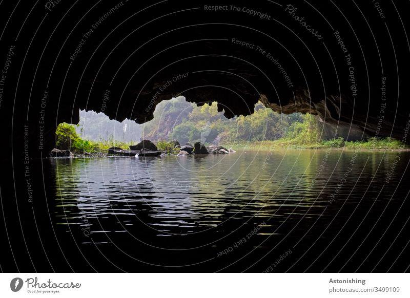 Grotte in Ninh Binh, Tam Coc, Vietnam Asien Fluss Höhle dunkel Aussicht niedrig grün schwarz Felsen Stein Wasser Flussufer Steine Laub Blätter Wald Urwald Natur