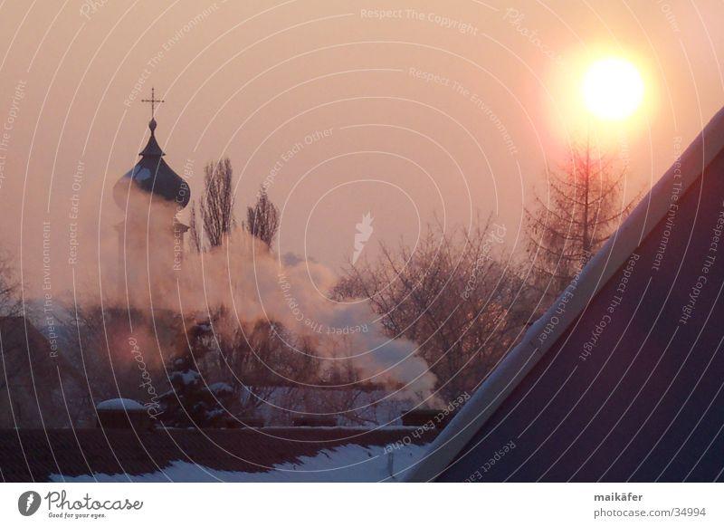 Morgendämmerung Sonne rot Winter Religion & Glaube Nebel mystisch Abenddämmerung Kirchturm Morgennebel