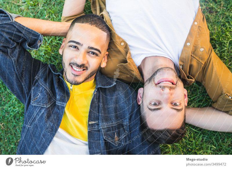 Schwules Paar, das sich auf dem Rasen des Parks hingelegt hat. schwul Liebe Partnerschaft aussruhen Termin & Datum lieblich positiv sich[Akk] entspannen