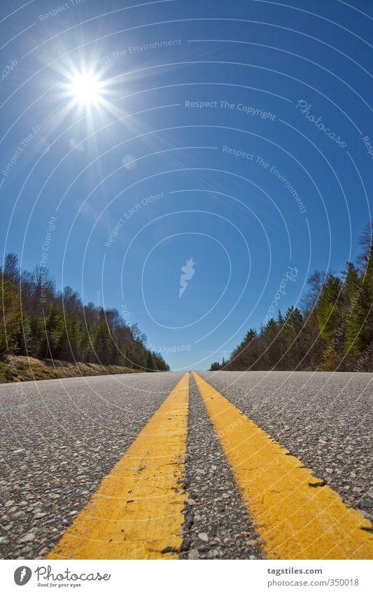 KANADAS WEITE Kanada Straße Ontario Algonquin PP Algonquin National Park Mittelstreifen Ferien & Urlaub & Reisen Reisefotografie Postkarte Sonne Sommer