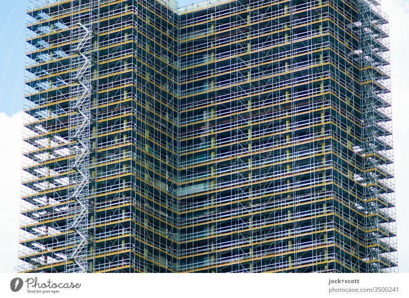 Kreisel zu Wohnhochhaus Baustelle Wandel & Veränderung Baugerüst Sanieren komplex Architektur Gebäude Fassade Hochhaus Erneuerung Hochhausfassade steglitz