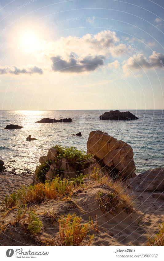 Schöne Insel Lefkada Farbe Landschaft blau im Freien Meereslandschaft Natur schön Himmel malerisch Panorama Hintergrund MEER Sommer Horizont Steine winken