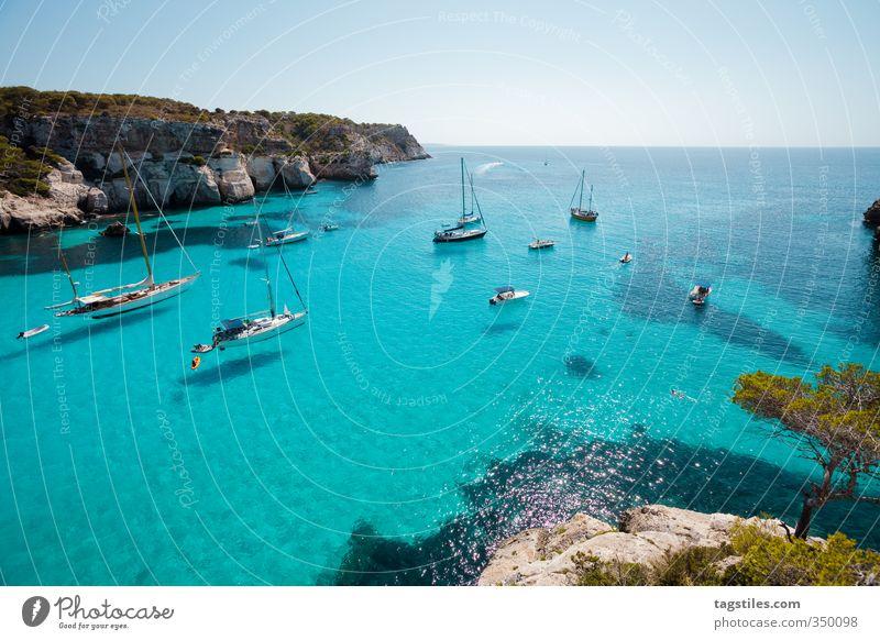 CALA MACARELLA Natur Ferien & Urlaub & Reisen Meer Landschaft Erholung Strand Reisefotografie Küste Felsen Wasserfahrzeug Freizeit & Hobby Idylle Tourismus