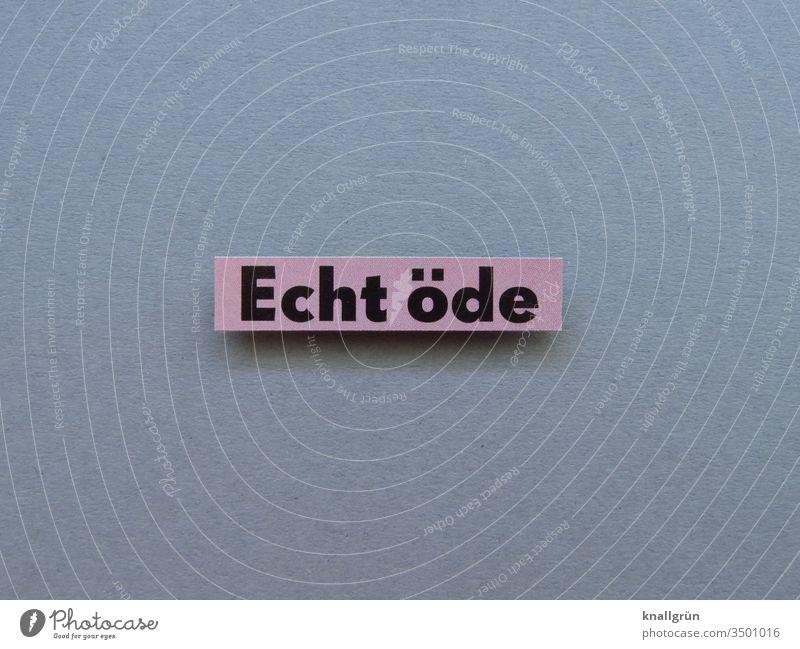 Echt öde Langeweile warten Leerlauf Ruhe trist Buchstaben Wort Satz Typographie Text Lateinisches Alphabet Schriftzeichen Sprache Kommunikation Letter