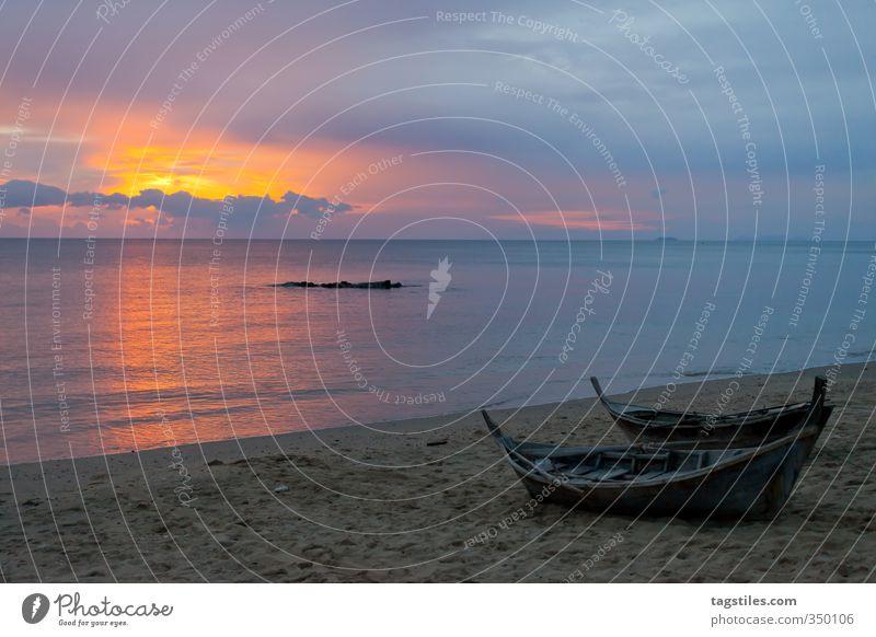 KO LANTA Andamanensee Ko Lanta Thailand Krabi Landschaft Sonnenuntergang Wasserfahrzeug Fischerboot Meer Strand Ferien & Urlaub & Reisen Reisefotografie