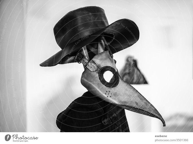 """Pest-Maske, infektiös Krähe weiß theatralisch bubonic Schutz """"Pestarzt"""". Dekoration & Verzierung Seuche Alptraum Hintergrund Wissenschaft Bekleidung stilisiert"""