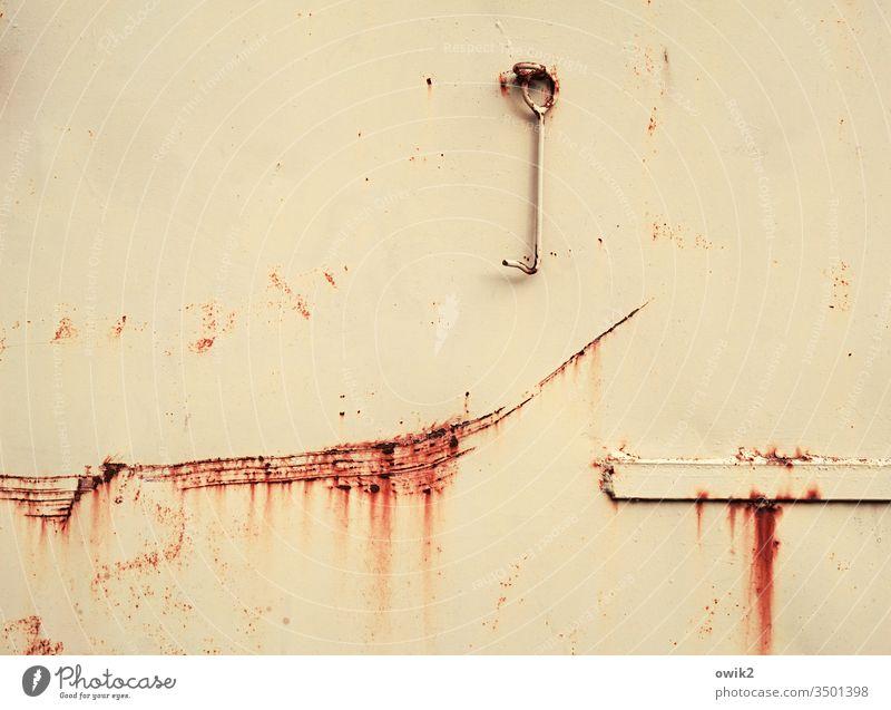 Gleichnis Tor Blech Rost alt Spuren Vergänglichkeit Kratzer marode Zahn der Zeit Haken Scharnier Lücke durch Fläche Farbe rostrot beige Metall Zerstörung