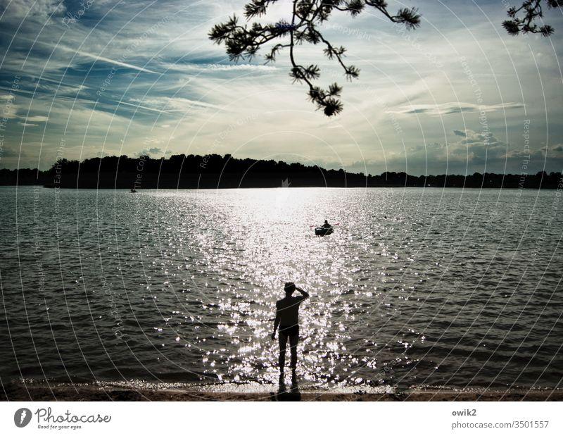 Junge, komm bald wieder Mann warten See Silhouette Zweig Himmel Insel draußen Sehnsucht Sonnenlicht Gegenlicht Schatten Strand Erwartung Außenaufnahme
