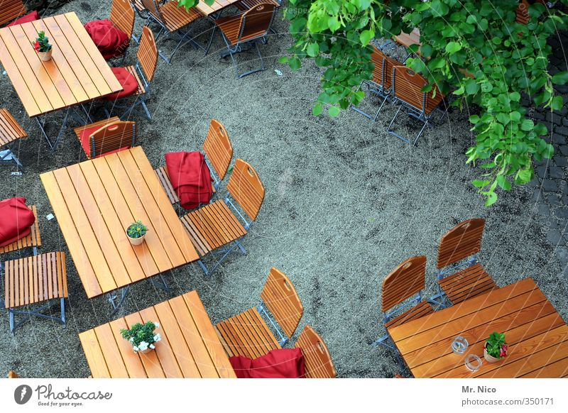 nehmt platz ! Lifestyle Sommer Stuhl Tisch ausgehen Essen Oktoberfest Gastronomie Feierabend Umwelt genießen Erholung Kontakt Tourismus Biergarten Holztisch