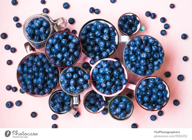 Frische Blaubeeren in Tassen von oben gesehen. obere Ansicht Überfluss Ackerbau Beeren blaue Früchte Schalen & Schüsseln farbenfroh Becher lecker Diät