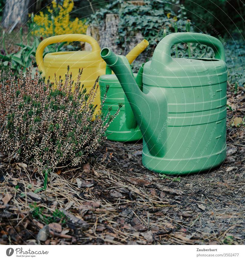 Drei Gießkannen im Gänsemarsch auf ihrem Weg durch den Garten Tülle Heide Heidekraut Spaziergang Gruppe Wasser gießen Gartenarbeit Gärtner Kannen