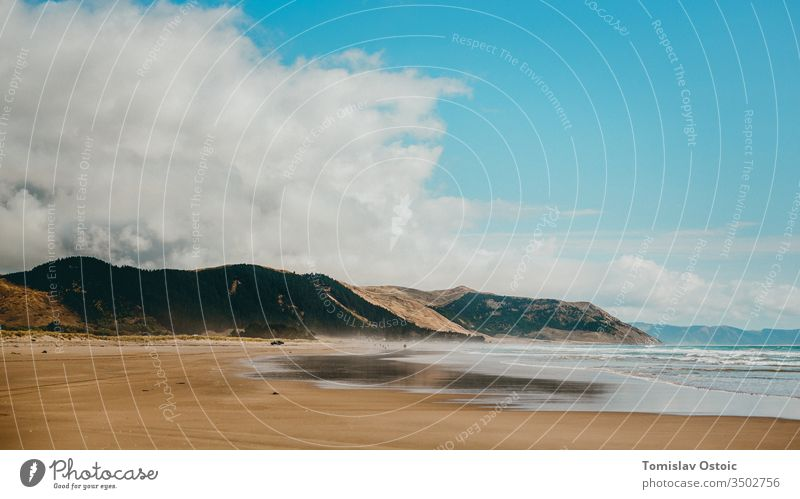 Ozean-Küste - Pazifik - Neuseeland Meer Strand blau Sand Wasser Landschaft Natur Ferien & Urlaub & Reisen Sommer Außenaufnahme Schönes Wetter Wolken Nordinsel