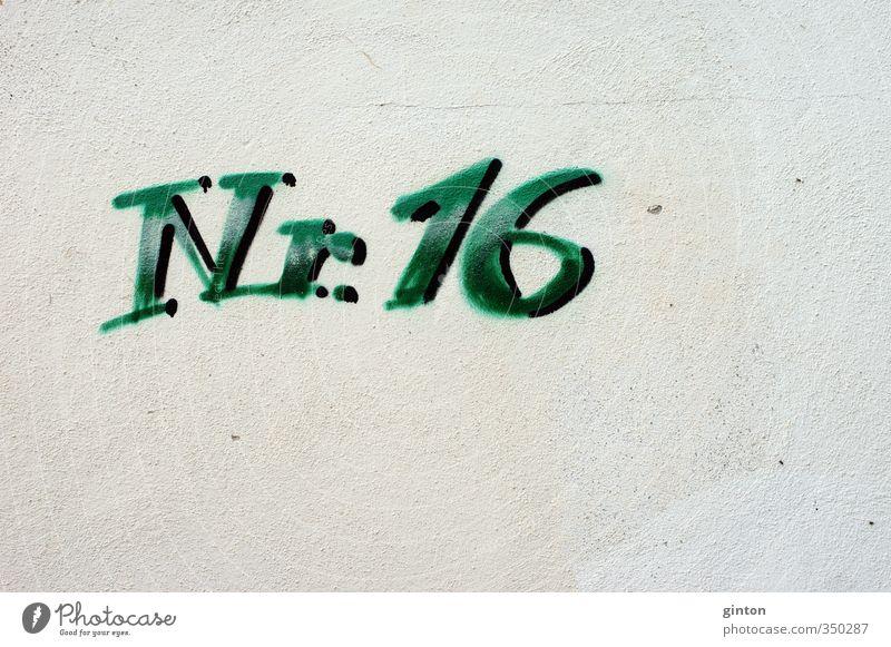 Nummer 16 Architektur Kultur Jugendkultur Bauwerk Gebäude Mauer Wand Fassade Stein Zeichen Schriftzeichen Ziffern & Zahlen Graffiti einfach trendy grün Farbfoto