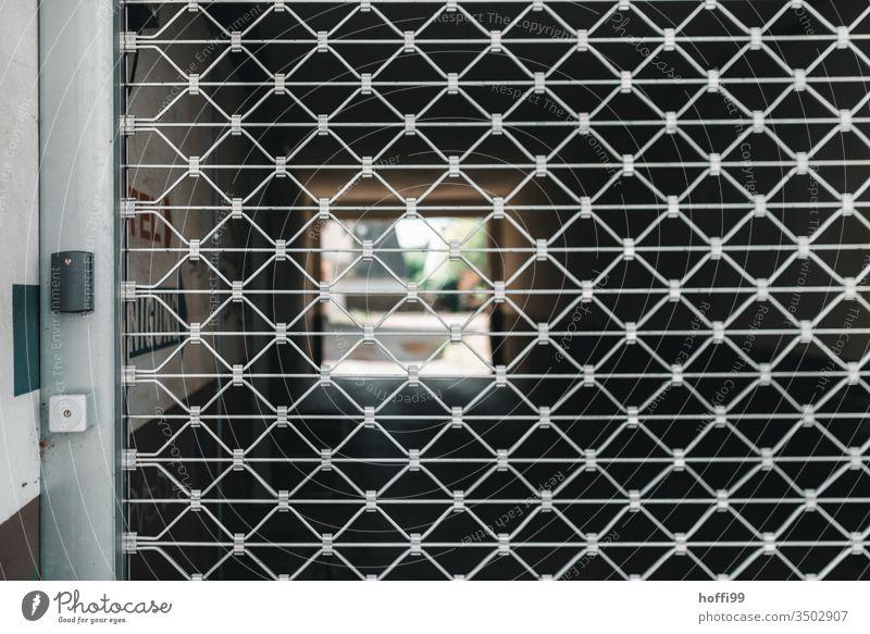 geschlossenes Rollgitter vor Einfahrt Rolltor Einfahrtstor Hof Hinterhof Hinterhofwerkstatt Tor Tür Garagentor Fassade Haus Wand Mauer Eingang Eingangstor