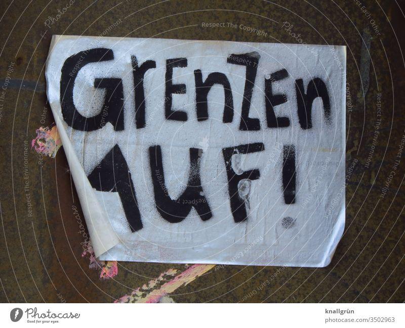 Grenzen auf! Freiheit Politik & Staat global Reisefreiheit Asyl Menschen international offen grenzenlos Länder Europa Gesellschaft (Soziologie) Aufkleber