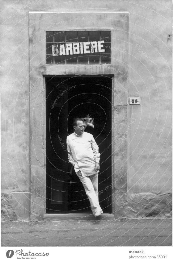 barbier Mann Arbeit & Erwerbstätigkeit warten Schilder & Markierungen Italien anlehnen