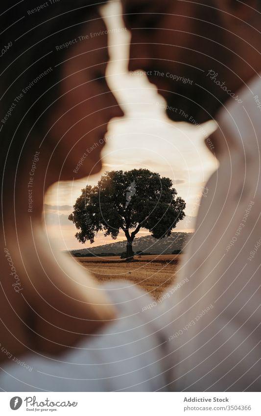 Baum hinter dem Paar am Abend Liebe Termin & Datum Sonnenuntergang Umarmung Sommer Landschaft Himmel Zusammensein Partnerschaft Mann Frau Natur romantisch