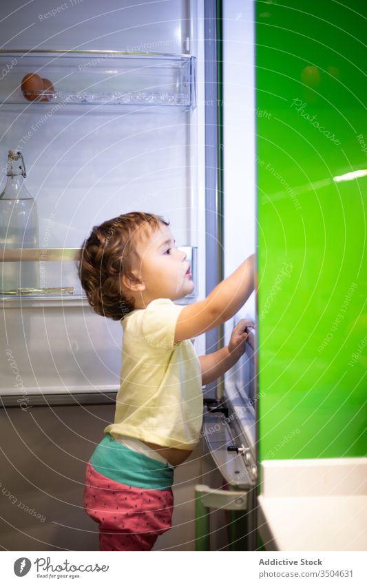 Kleinkind stiehlt Essen in der Küche Kühlschrank Lebensmittel Suche stehlen Snack offen heimwärts Hocker stehen Kind wenig niedlich Mahlzeit modern Zeitgenosse