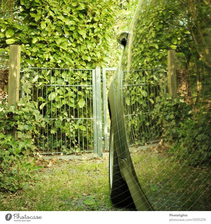 Spiegelung in Autotür Blätter Gartenzaun Reifen Efeu kirschlorbeer Weg Vintage Stimmung Profil Steine parken PKW Außenaufnahme Menschenleer Fahrzeug