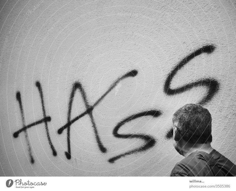 HASS Hass Wut Aggression Verbitterung Graffiti Wand Mensch Mann Kopf Feindseligkeit Frustration Ablehnung Gefühl