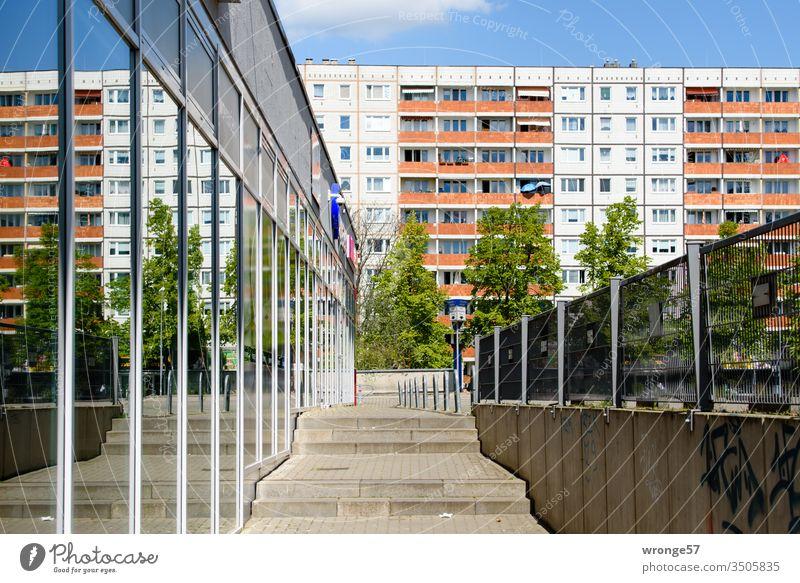 Magdeburger Plattenbau und sein Spiegelbild in einer Glasfassade Wohnhaus Fassade Straßenseite Fenster Balkone Spiegelung Reflexionen Gehweg Treppe