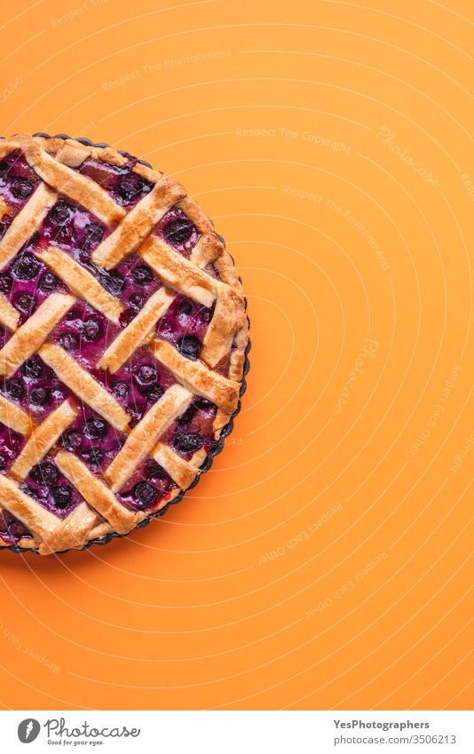 Blaubeerkuchen mit Gitteraufsatz. Traditioneller Obstkuchen obere Ansicht Amerikaner gebacken Bäckerei Heidelbeer-Füllung Buttergebäck Kuchen Kalorien Kruste